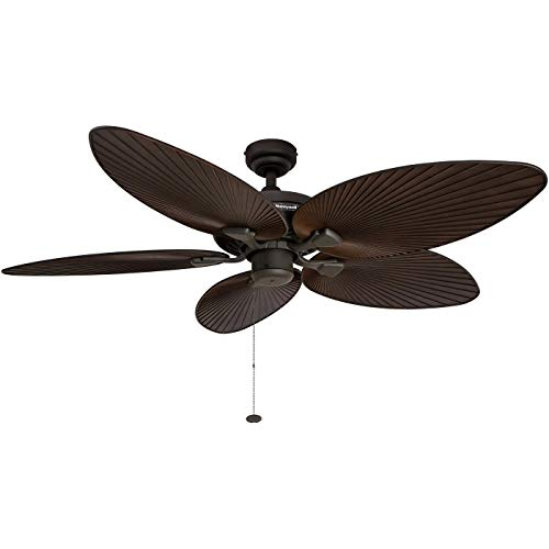 Honeywell Palm Island 52-Inch Tropical Ceiling Fan, Five Palm Leaf Blades, Indoor/Outdoor, Damp Rated, Bronze (Renewed)