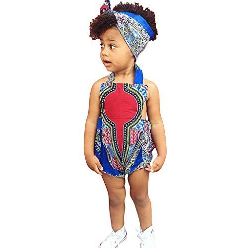 KEERADS- Toddler Kid Beb nia africana Imprimir sin mangas Barbotaje, banda de pelo Body ropa multicolor 80 cm