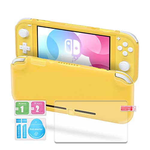 TPU Case Compatible with Switch Lite, Clear Protective Case Compatible with Switch Lite with Tempered Glass Screen Protector - Yellow