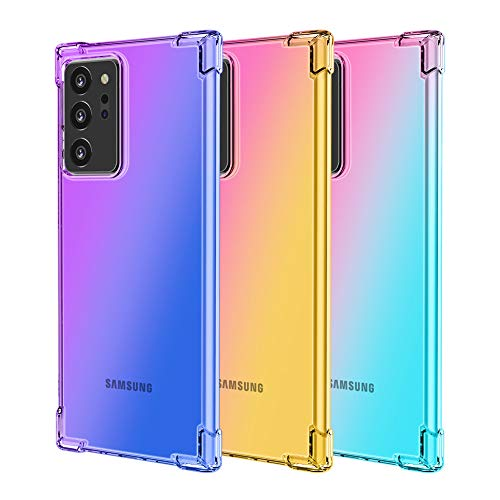 LUVI 3 Packs for Galaxy Note 20 Ultra Case Cute Rainbow Color Changing Gradient Ramp Corners Bumper Protective Cover Soft TPU Silicone Silm Ultra Thin Luxury Case for Galaxy Note 20 Ultra