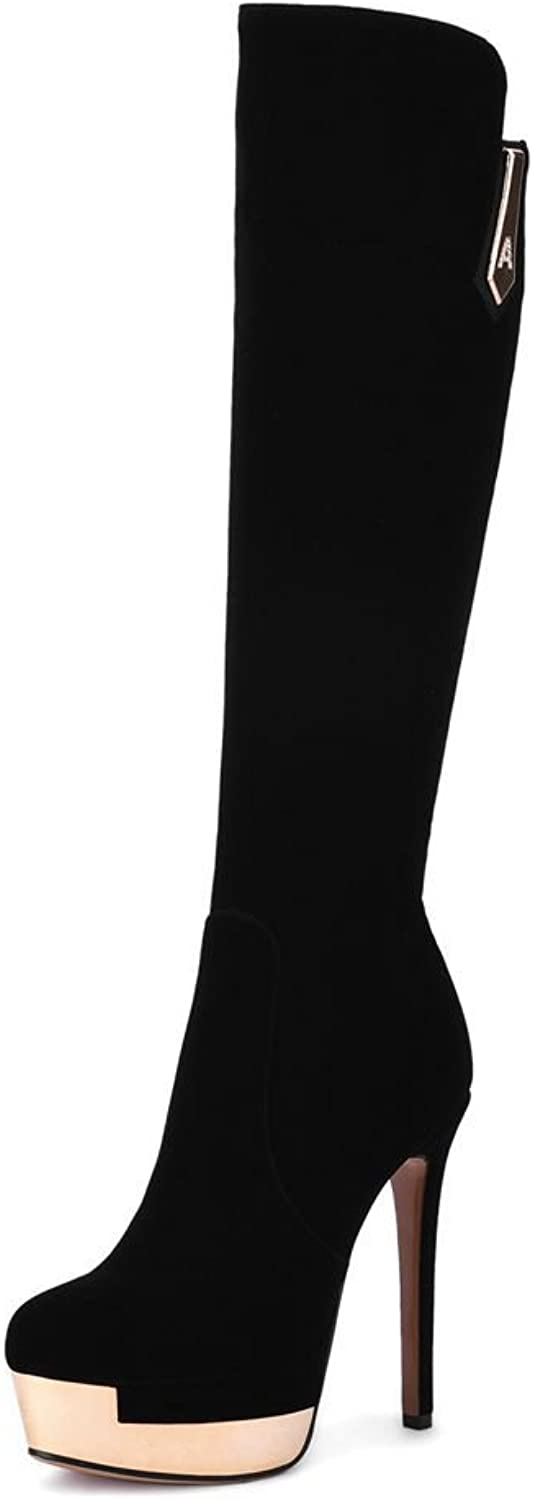 SaraIris Platform Stiletto Heels Zipper Round-Toe Mental Decoration Warm Knee-high Boots for Women