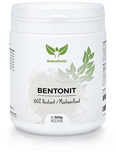 NaturaForte Bentonit Pulver 500g - Extra fein in Premiumqualität, Mineralerde & Heilerde, Bentonite Clay Powder, Montmorillonit Pulver geprüft & kontrolliert in Deutschland