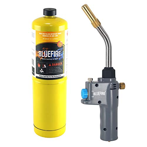 BLUEFIRE BTS-8088 Auto ON/OFF Trigger Start Heavy Duty Gas Welding Torch Head, Adjustable Swirl Flame, Hand Hold Portable, Fuel by MAPP/MAP Pro/Propane, CSA Certified (Torch Kit with MAPP Cylinder)