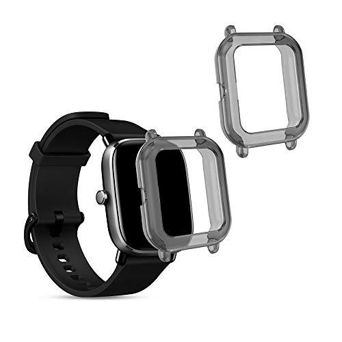 kwmobile 2 Pack de Fundas Compatible con Fitness Tracker Xiaomi Huami Amazfit GTS 2 Mini - Case en Negro/Transparente
