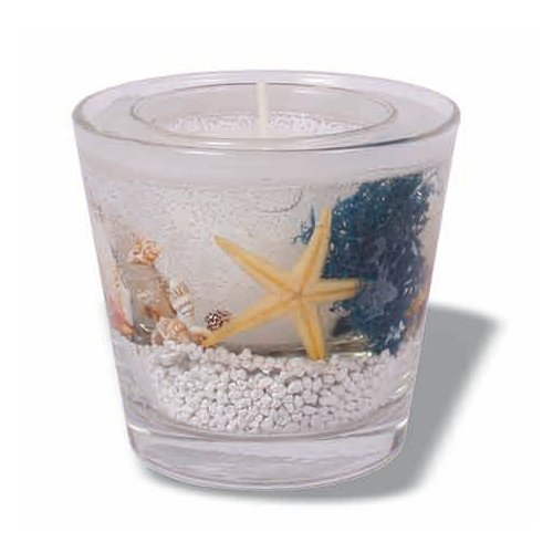 Duftkerze im Glas mit Muscheln weiß, H 90 mm
