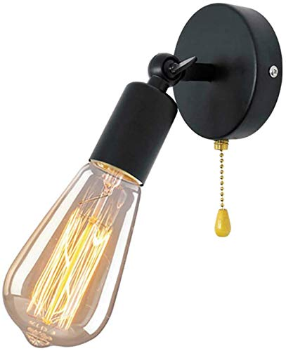 Lámpara de pared debrazo oscilante con interruptor de tiro, lámpara de pared, luces de pared para barra de café, sala de estar, retro industrial, ángulo ajustable, interior, metal negro, E27, luces