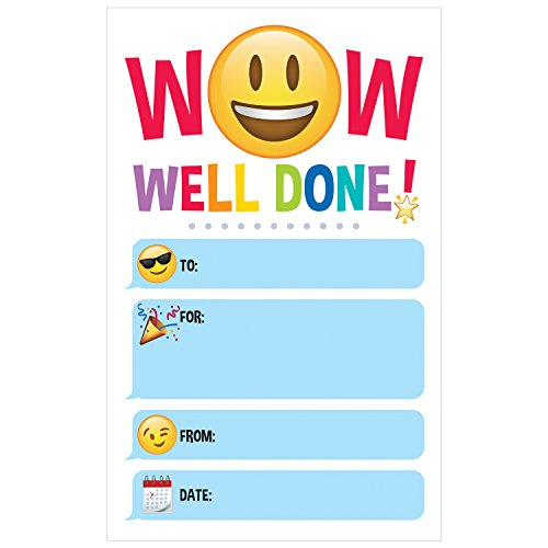 Creative Teaching Emoji Fun Well Done! Academic Incentive Award (30 Per Pack)