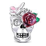 GNOCE Cráneo Abalorio Charms con Mariposa Rosa y Flor Rosa De Mujer De Ley 925 Abalorios con Cubic Zirconia para Halloween Compatible con Pulsera o Collar