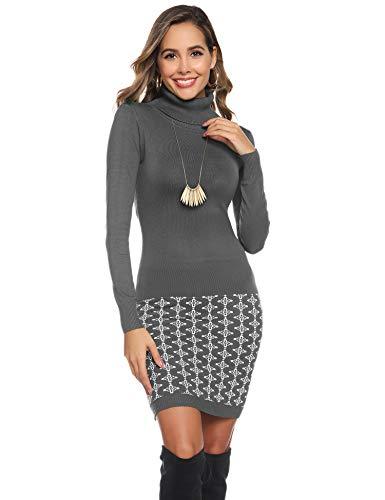 Abollria Vestito Maglione Donna Invernale Casual Vestito Collo Alto Aderente Abito Basic in Maglia con Manica Lunga, Grigio, L