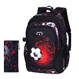 XWWS wasserdichte Schultaschen - Kinderrucksack, Fußball-Rucksack Mit Großer Kapazität Für Jungen, Mädchen Und Kinder,M