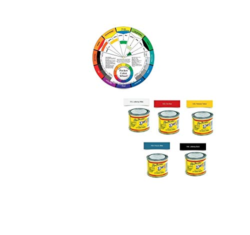 One-Shot 1 5 Color Lettering Enamel-Pinstripe Paint Kit with Custom Shop Striping Brush Set and Color Wheel