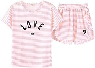 Jashe Big Girls Summer Cotton Pajamas Set Pink Bunnies Shorts Sleepwear for Teens Size 12 14 16 18