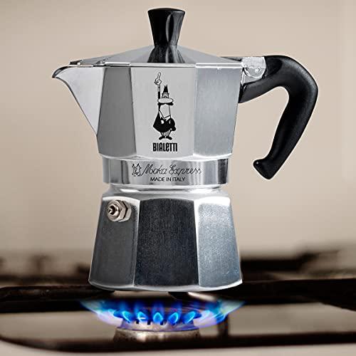 Bialetti - Moka Express: Iconic Stovetop Espresso Maker, Makes Real Italian Coffee, Moka Pot 6 Cups (9 Oz - 270 Ml) , Aluminium, Silver