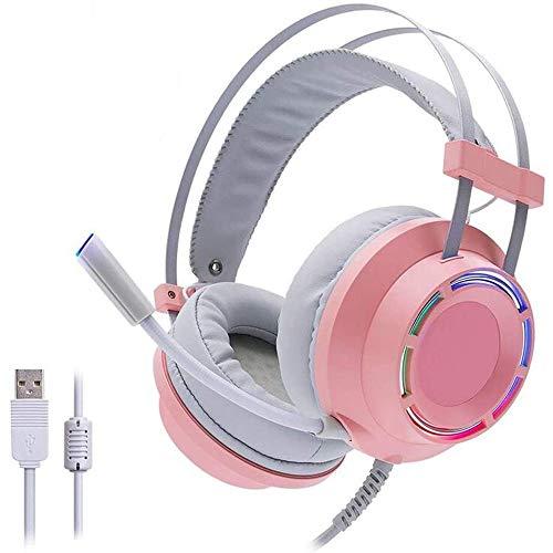 WHSS Cable USB 7.1 Auriculares For Juegos De Sonido Envolvente, Bajo Estupendo con LED Micrófono del Auricular Ligero, Apto For Juegos De PC Portátil Xbox Auriculares For Juegos (Color : Pink)