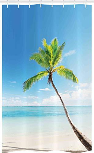 ABAKUHAUS Wendekreis Schmaler Duschvorhang, Palmen auf Karibik, Badezimmer Deko Set aus Stoff mit Haken, 120 x 180 cm, Blau Grün Beige