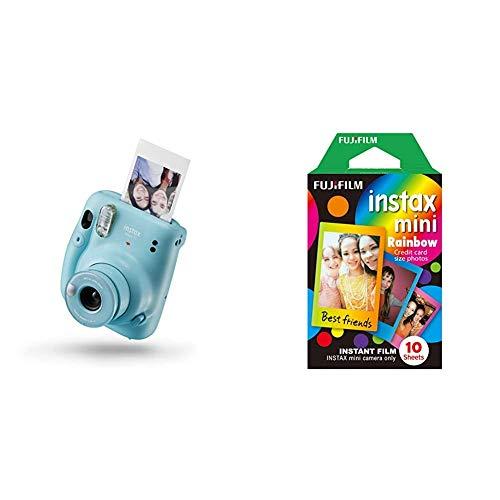instax Mini 11 Camera, Sky Blue & Mini Frame WW1 Rainbow, Bunt