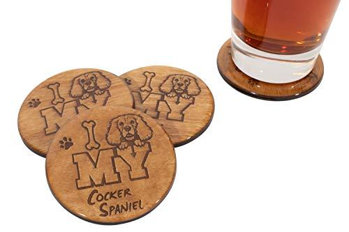 I Love My French Bulldog Handmade Coaster Set - 4 Piece 3.5' Wooden Bar Beer - Premium Bubble Coat