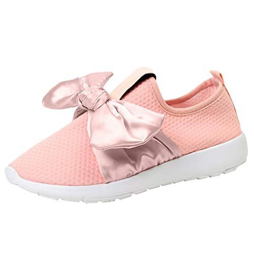 MRULIC Damen Outdoor Sportschuhe Mesh Bow Casual Schuhe Laufen Atmungsaktive Schuhe Turnschuhe Low-Top Sneakers Leichte Schuhe(Rosa,EU-35/CN-36)