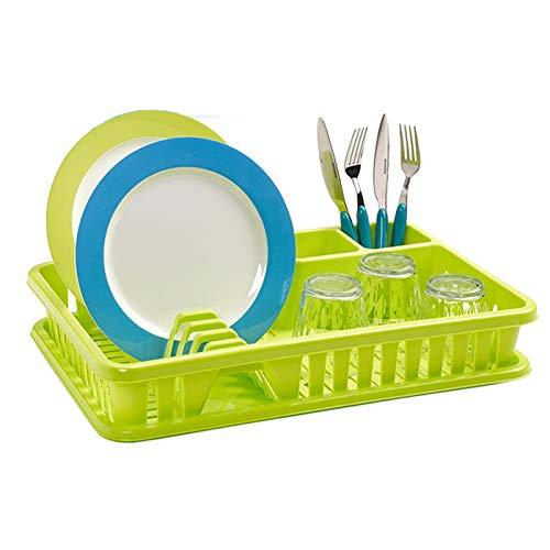 Escurreplatos de Plástico 45 x 29,7 x 8 cm , Organizador de Cocina, Escurridor con Bandeja para Cocina… (Verde)