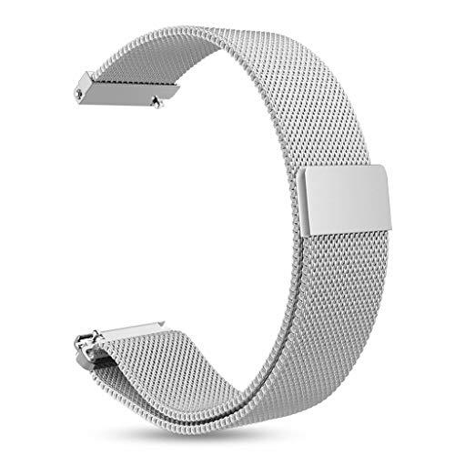 INF armband voor Gear S3 Classic, S3 Frontier, 22 mm breed, roestvrijstalen armband, vervanging, horlogeband, verwisselbare riem, magnetische sluiting, zilver