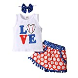 Toddler Baby Girls Shorts Outfits Love Baseball Print Vest T-Shirt Tops Tassel Pants Summer Clothes Set (12-18 Months, Red White Blue Clothing Set)
