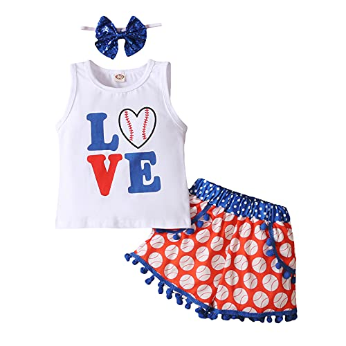 Toddler Baby Girls Shorts Outfits Love Baseball Print Vest T-Shirt Tops Tassel Pants Summer Clothes Set (2 Years Old, Red White Blue Clothing Set)
