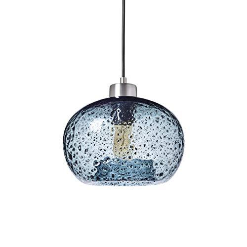 TRUSTWOODS Hand Blown Glass Mini Pendant Light for Kitchen Island Sink Restaurant Farmhouse, Grey Blue, Brushed Nickel