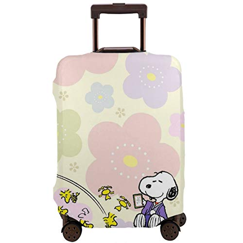 Travel Luggage Cover Snoopy With Flower Luggage Protector Suitcase Cover Fits 18-32 Inch Luggage