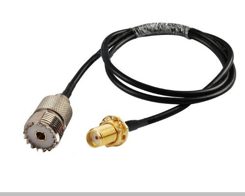 RF coaxial cable SMA female to UHF SO239 PL259 female RG58 20 inches | Made in the U.S.A. by MPD Digital (TM)