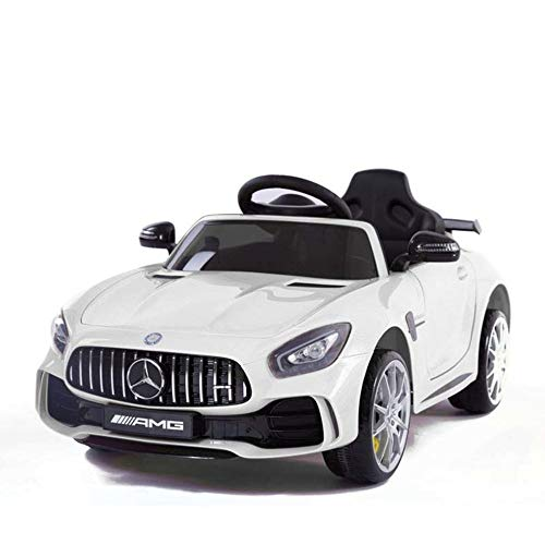 Devessport - Coche eléctrico para niños con Mando de Control Remoto - Mercedes GTR Blanco - Coche teledirigido con batería - Ideal para niños de 3 a 8 años (máximo 30 Kg) - Medidas: 102 x 62 x 53 Cm