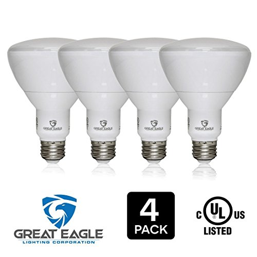 Great Eagle BR30 LED Bulb, 15W (100W equivalent), 1310 Lumens, Direct Upgrade for 65W Bulb, 4000K Cool White Color, 120 degree Beam Angle, Wide Flood Light, Dimmable, and UL Listed (Pack of 4)