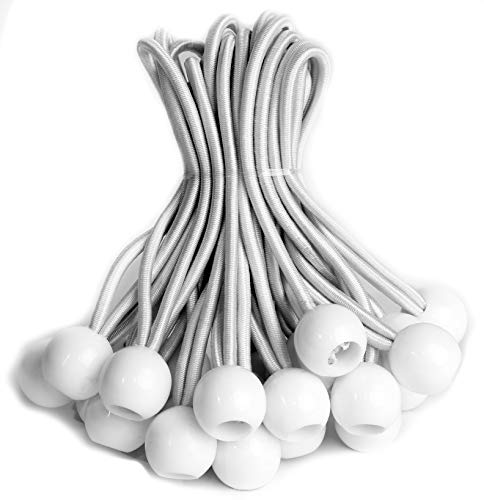 eHomeA2Z Ball Bungee White Heavy Duty 25 Pack 6 Inch Weather Resistant 5mm Thick for Camping Tarp Cargo Tent (25, 6-inch)