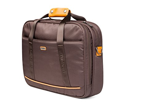 Melvin Laptopbag / Polyester Exterior with 100% leather straps / Great Capacity / Multi Pocket Laptopbag