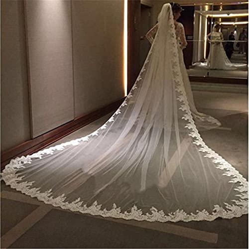 Tocado de novia 5 metros de marfil blanco Catedral Mantilla Velo de...