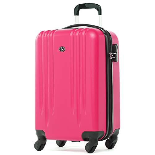 FERGÉ Trolley bagaglio a mano MARSIGLIA - Valigia rigida 55x35x22 cm valigetta bagaglio cabina 4 ruote girevole rosa