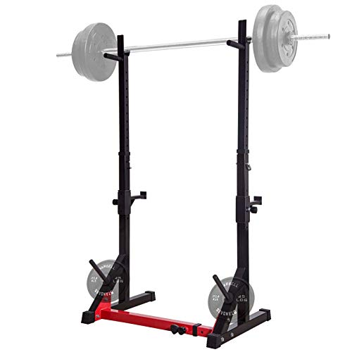 Ollieroo Multi-Function Squat Rack 480LBS Capacity Barbell Rack Adjustable Dip Stand Gym Family Fitness Weight Lifting Rack Bench Press Dip Station with Barbell Plate Rack,Height Range 46.8''-68.1''