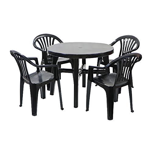 ガーデンチェア ガーデンテーブル 5点セット ガーデンセット ポリプロピレン製 PP ブラック ガーデンテーブル&チェアー4脚 軽量で持ち運び簡単 ガーデンファニチャー ガーデン テーブル セット ガーデンテーブルセット アウトドア プラスチック 黒 dc