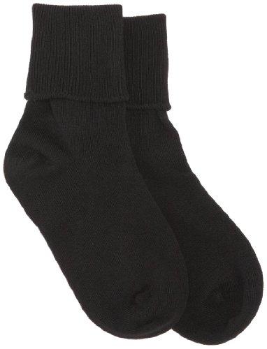 Jefferies Socks Girls' Big School Uniform Seamless Socks (Pack of Six Pairs), Black, Size 10-12(Shoe Size:9-13)