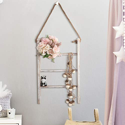 Patelai 3-Tier Mini Rustic Wall-Hanging Hand Towel Ladder with Rope Decorative Wooden Bathroom Towel Rack Whitewashed Ladder and Hook for Farmhouse Room Decor