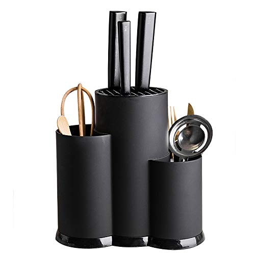 MDZF SWEET HOME 3-in-1 Kitchen Utensil Holder Set with Knife Block without Knives, Large Kitchen Tools Flatware Holder Organized Utensil Drying Cylinder, Black
