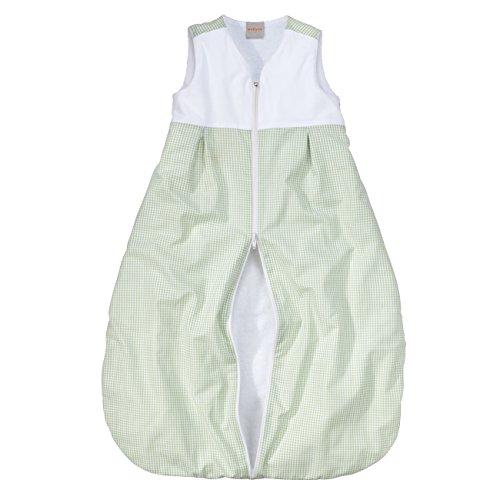 wellyou, Kinder-Baby-Schlafsack, mit Frottee gefüttert, grün-weiß Vichykaro, für Mädchen und Jungen, Größe 92-122