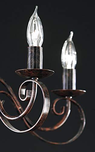 Honsel Leuchte Kronleuchterform 8 flammig, rostfarbig antik, - 3