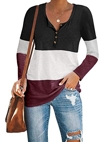 Imily Bela Womens Henley Neck Long Sleeve Color Blcok T Shirt Tops Workout Basic Fall Casual Blouse