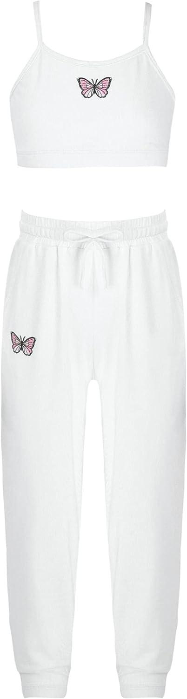inhzoy Kids Girls Summer Activewear Tracksuit Vest Tank Top and Pants Set for Running Workout