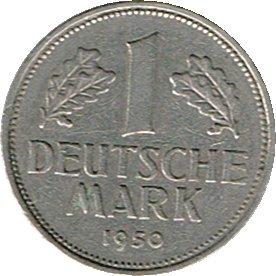 Die Sammlerwelt 1 Deutsche Mark 1950 (Jäger: 385) VZ - Münzstätte: F - Stuttgart