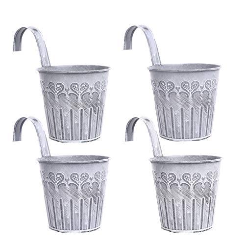 Cittoile - 4 macetas colgantes de metal con gancho, estilo vintage para decoración de balcón, jardín, pared, exterior e interior