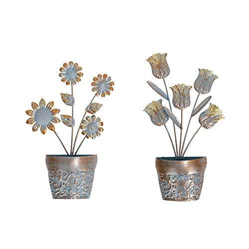 Liffy Scultura da appendere in metallo con fiori e piante da parete per casa, soggiorno, camera da letto, giardino