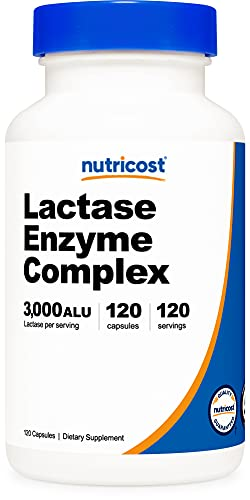 Nutricost Lactase Enzyme Complex 3,000 FCC ALU, 120 Vegetarian Capsules - Non-GMO, Gluten Free, 120 Servings
