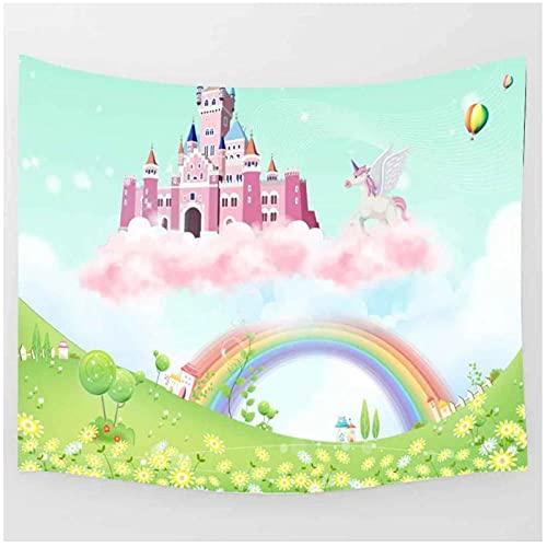 BD-Boombdl Tapiz colgante de pared Castillo decoración de arcoíris arte de pared Fondo tela para colgar junto a la cama sala de estar decoración del hogar 70.86'x90.55'Inch(180x230 Cm)