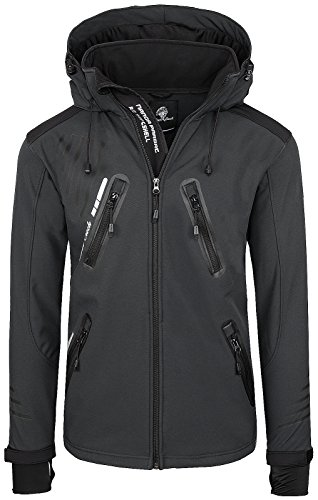 Rock Creek Herren Softshell Jacke Outdoorjacke Windbreaker Übergangs Jacke H-140 [Darkgrey XXL]